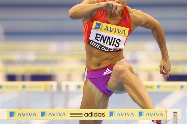 Jessica Ennis hurdling in Birmingham (Getty Images)