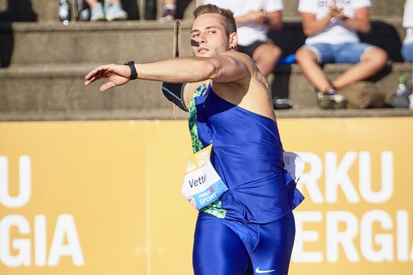 Johannes Vetter in action at the World Athletics Continental Tour meeting in Turku (Ville Vairinen)