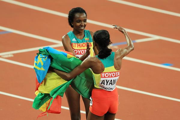 Tirunesh Dibaba and Almaz Ayana after the women's 10,000m at the IAAF World Championships London 2017 (Getty)
