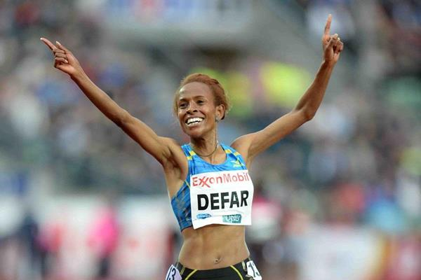 Meserat Defar winning the 5000m at the 2013 IAAF Diamond League meeting in Oslo (Jiro Mochizuki)