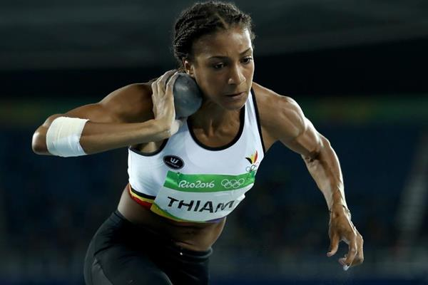 Nafissatou Thiam in the heptathlon shot put at the Rio 2016 Olympic Games (Getty Images)