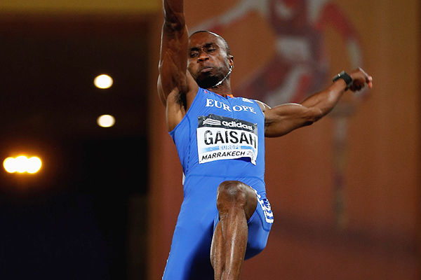 Ignisious Gaisah in the long jump at the IAAF Continental Cup Marrakech 2014 (Getty Images)