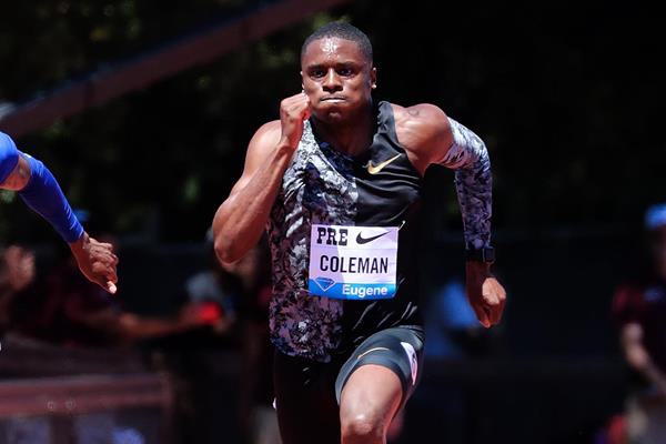 Christian Coleman in the 100m at the IAAF Diamond League meeting in Stanford (Victah Sailer)