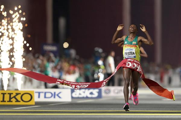 Lelisa Desisa wins the marathon at the IAAF World Athletics Championships Doha 2019 (Getty Images)
