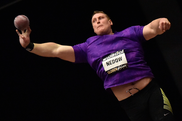 Tim Nedow, winner of the shot put at the Globen Galan in Stockholm (Hasse Sjogren)