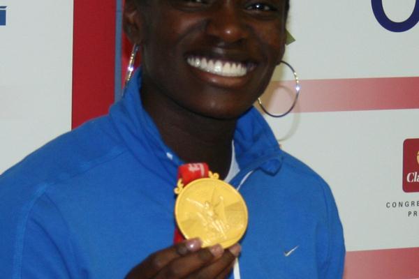 Dawn Harper showing off her Beijing gold in Prague (Bob Ramsak)