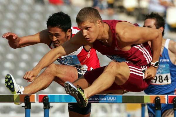 Stanislavs Olijars of Latvian in the heats of the 110m Hurdles (Getty Images)
