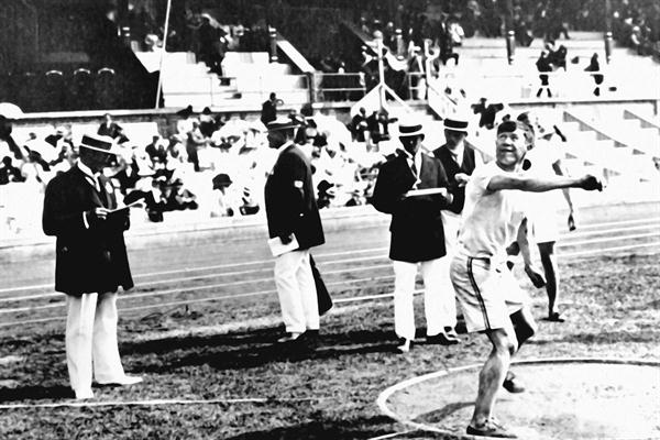 Jim Thorpe during the 1912 Olympic Decathlon competition (Getty Images)