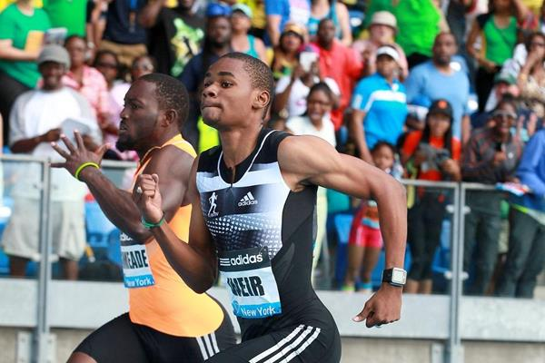 Warren Weir winning the 200m at the 2014 IAAF Diamond League meeting in New York (Victah Sailer)