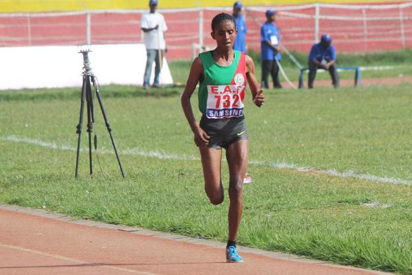 Yebrqual Melese on her way to winning the Ethiopian 10,000m title (Bizuayehu Wagaw)