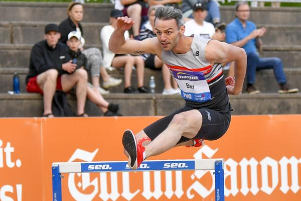 Thomas Barr on his way to winning the 400m hurdles at the Continental Tour Gold meeting in Turku (Deca Text & Bild)