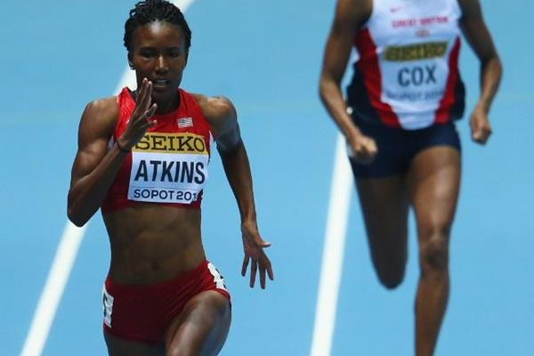 Joanna Atkins in action in her 400m heat at the 2014 IAAF World Indoor Championships in Sopot (Getty Images)