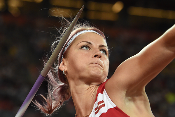 Latvia's Madara Palameika in the javelin at the IAAF World Championships Beijing 2015 (AFP / Getty Images)