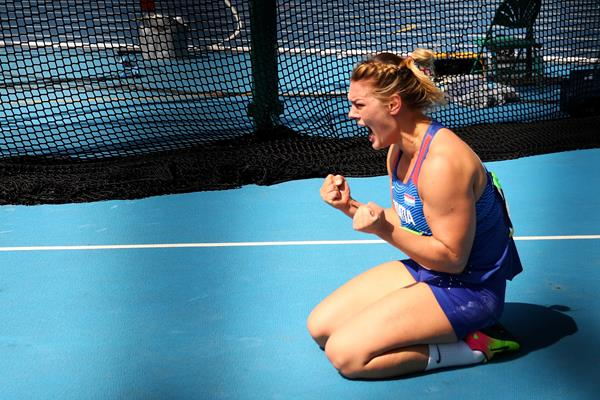 Sandra Perkovic celebrates her winning throw in the discus at the Rio 2016 Olympic Games (Getty Images)