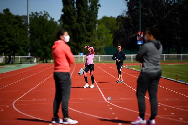 Athletes train at the National Institute of Sport in Paris as France eases lockdown measures (AFP / Getty Images)