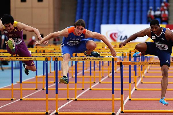 Sergey Shubenkov, winner of the 110m hurdles at the IAAF Continental Cup, Marrakech 2014 (Getty Images)