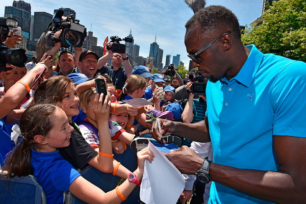 Usain Bolt at the launch of Nitro Athletics in Melbourne (AFP / Getty Images)