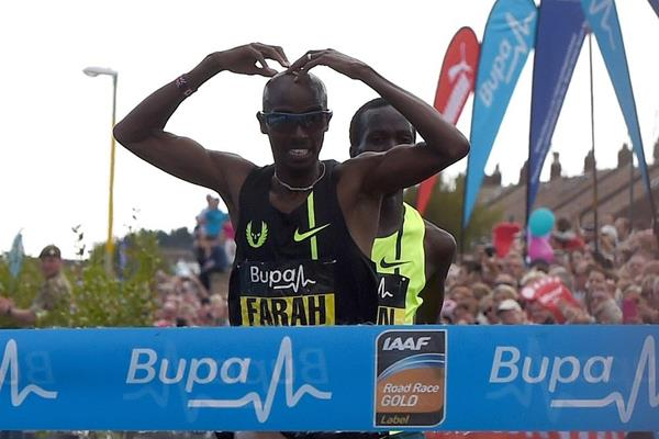 Mo Farah winning at the 2014 Bupa Great North Run (Getty Images)