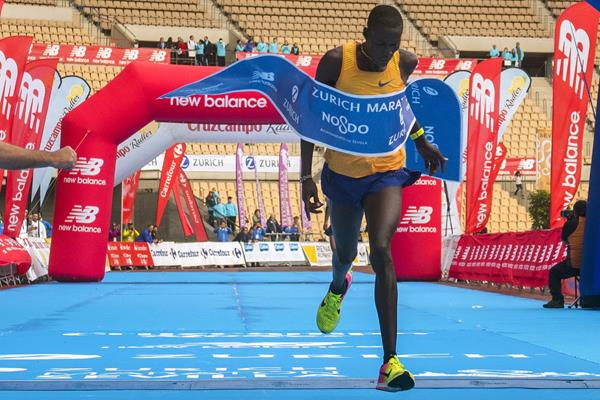 Titus Ekiru winning the Seville Marathon (Juan Jose Ubeda/organisers)
