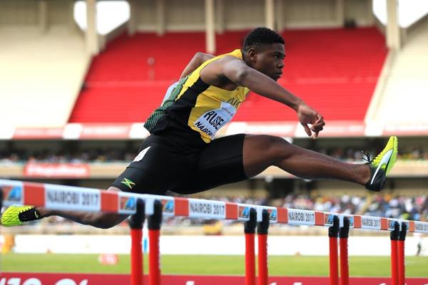 De'Jour Russell in the 110m hurdles at the IAAF World U18 Championships Nairobi 2017 (Getty Images)