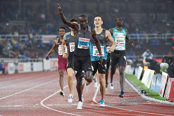 Ferguson Rotich wins the 800m at the IAAF Diamond League meeting in Stockholm (Hasse Sjogren)