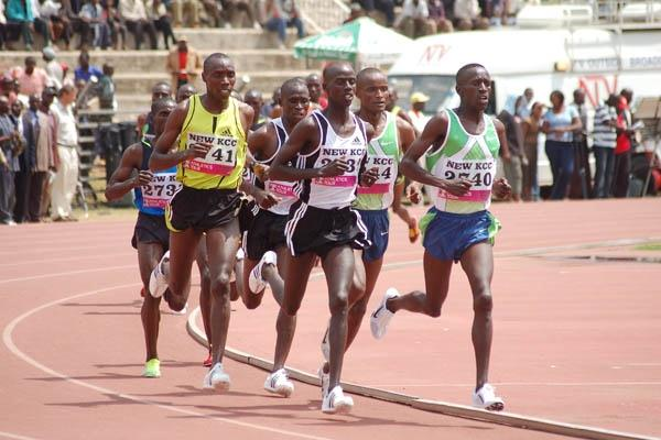 (right to left) - Olympic 300m Steeplechase champion Ezekiel Kemboi wins from World Champion Brimim Kipruto and African Champion Richard Matelong (Ricky Simms)