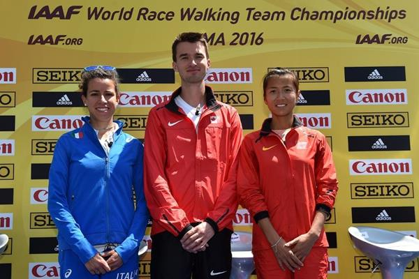 Eleonora Giorgi, Ben Thorne and Liu Hong at the press conference for the IAAF World Race Walking Team Championships Rome 2016 (Getty Images)