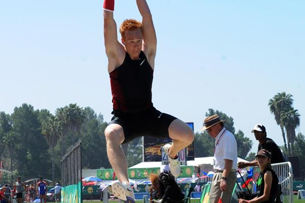 Greg Rutherford in long jump action in California (Randy Miyazaki)
