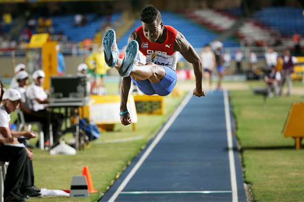 Maykel Masso in the long jump at the IAAF World Youth Championships Cali 2015 (Getty Images)