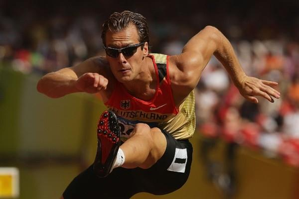 Andre Niklaus of Germany runs 14.37 in the decathlon 110m hurdles (Getty Images)