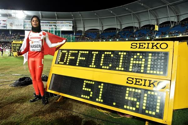 Salwa Eid Naser after winning the girls' 400m at the IAAF World Youth Championships, Cali 2015 (Getty Images)