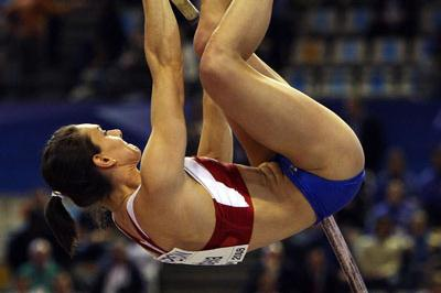 Yelena Isinbayeva competes at the IAAF World Indoor Championships in Valencia (Getty Images)