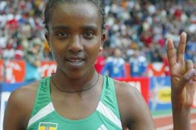 Tirunesh Dibaba celebrates winning gold in the 5000m (Getty Images)