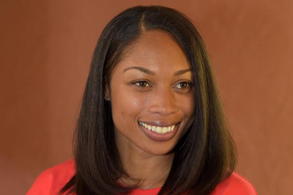 Allyson Felix at the press conference ahead of the 2015 IAAF Diamond League meeting in Eugene (Kirby Lee)
