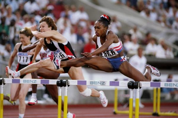 Gail Devers in the 100m hurdles at the 1993 IAAF World Championships (Getty Images)