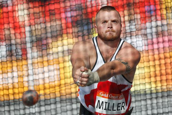 Nick Miller throws a British record to secure the Commonwealth hammer title (Getty Images)