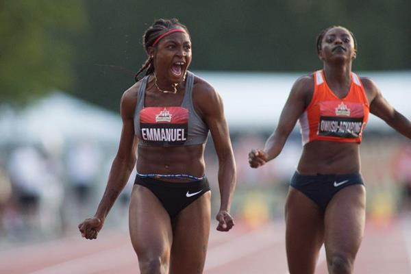 Crystal Emmanuel takes the Canadian 100m title (Brian Rouble/organisers)