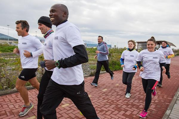 IAAF ABW sponsored Morning Run in Sochi on 22 April 2015, led by IAAF Ambassador Wilson Kipketer (Getty Images)