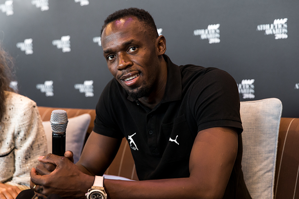 Usain Bolt speaks to the press ahead of the IAAF Athletics Awards 2016 (Philippe Fitte / IAAF)