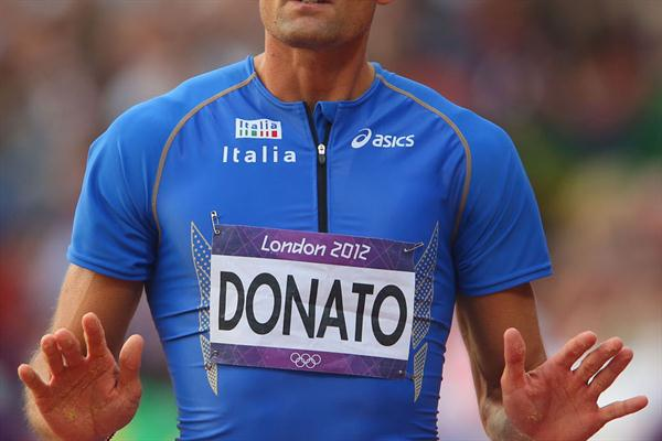 Fabrizio Donato of Italy reacts during the Men's Triple Jump Final on Day 13 of the London 2012 Olympic Games at Olympic Stadium on August 9, 2012 (Getty Images)