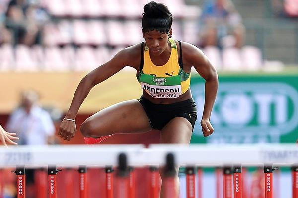 Britany Anderson at the 2018 World U20 Championships in Tampere (Getty Images)