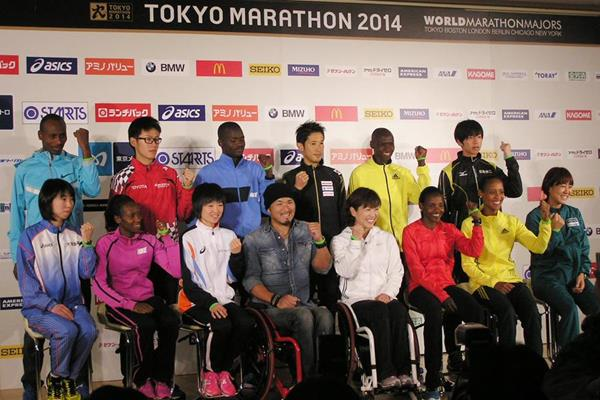 The elite athletes at the press conference ahead of the 2014 Tokyo Marathon (Ken Nakamura)