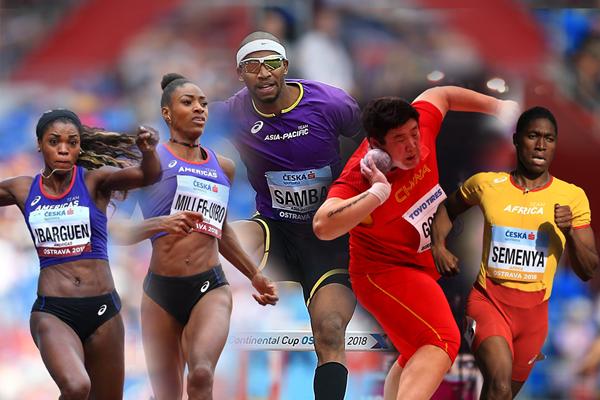 Caterine Ibarguen, Shaunae Miller-Uibo, Abderrahman Samba, Gong Lijiao and Caster Semenya (Getty Images)