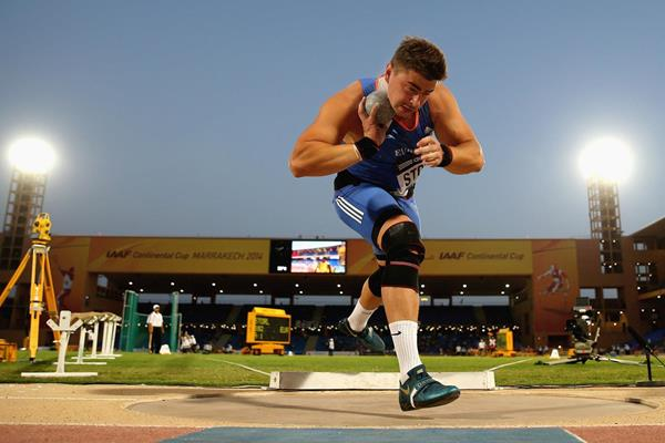 David Storl on his way to winning the shot at the IAAF Continental Cup, Marrakech 2014 (Getty Images)