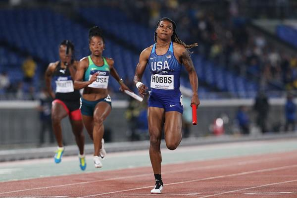 USA's Aleia Hobbs in the women's 4x100m at the IAAF World Relays Yokohama 2019 (Roger Sedres)