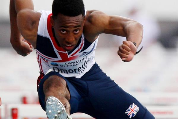 David Omoregie in action in the 110m hurdles (Getty Images)