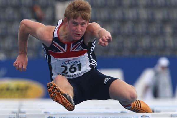 Daniel Gardiner of GBR during the Decathlon junior 110m Hurdles heats (Getty Images)