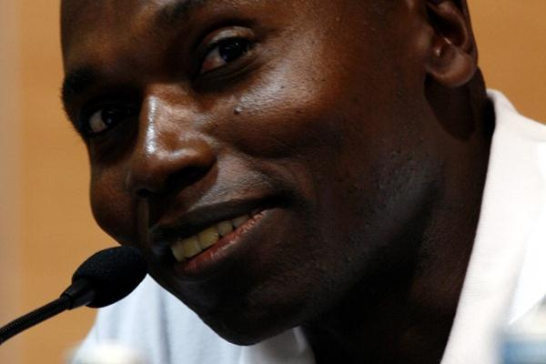 IAAF Ambassador Wilson Kipketer at the pre-competition press conference in Split (Bob Ramsak)