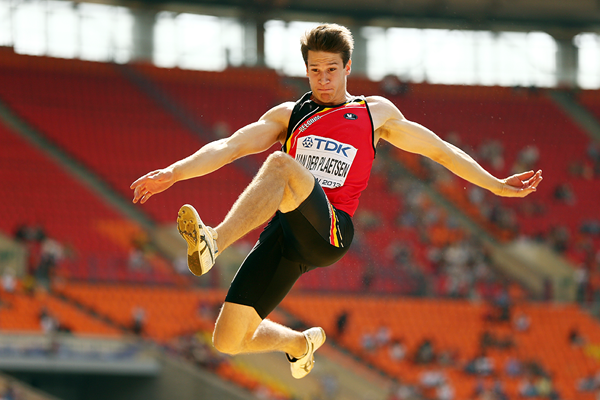 Thomas van der Plaetsen in the decathlon long jump at the IAAF World Championships, Moscow 2013 (Getty Images)