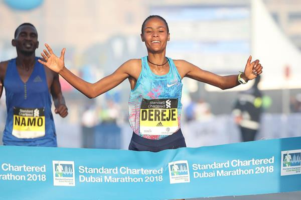 Dubai Marathon course record for Roza Dereje (Giancarlo Colombo)